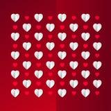 τρισδιάστατες καρδιές εγγράφου στο κόκκινο backround Στοκ Εικόνες