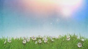 τρισδιάστατες μαργαρίτες στον ηλιόλουστο ουρανό χλόης με την αναδρομική επίδραση grunge διανυσματική απεικόνιση
