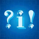 τρισδιάστατες μπλε πληροφορίες, ερωτηματικό και στομφώδες ολοκληρωμένο κύκλωμα σημαδιών Στοκ Εικόνα