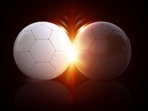 τρισδιάστατες σφαίρες ποδοσφαίρου απεικόνισης Στοκ Εικόνα
