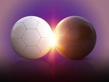 τρισδιάστατες σφαίρες ποδοσφαίρου απεικόνισης Στοκ Εικόνες