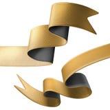 τρισδιάστατες χρυσές μαύρες άκρες κορδελλών που απομονώνονται στο άσπρο υπόβαθρο Στοκ φωτογραφίες με δικαίωμα ελεύθερης χρήσης