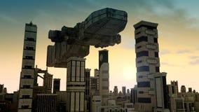 τρισδιάστατες UFO και πόλη Στοκ Εικόνα