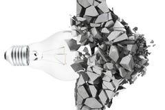 τρισδιάστατη λάμπα φωτός απόδοσης, που κατεδαφίζει τα θρύμματα τοίχων, έννοια της δημιουργικών σκέψης και της καινοτομίας απεικόνιση αποθεμάτων