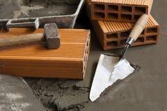 τρισδιάστατη άσπρη εργασία θέσεων εικονιδίων τούβλων ανασκόπησης trowel στοκ φωτογραφία με δικαίωμα ελεύθερης χρήσης