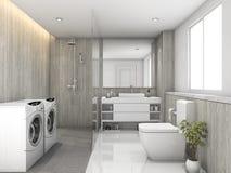 τρισδιάστατη άσπρη ξύλο απόδοσης και τουαλέτα κεραμιδιών πετρών και δωμάτιο πλυντηρίων Στοκ εικόνες με δικαίωμα ελεύθερης χρήσης