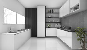 τρισδιάστατη άσπρη σοφίτα απόδοσης σύγχρονο ύφος κουζινών Στοκ Εικόνες