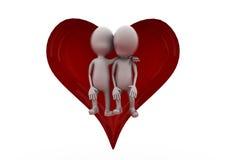 τρισδιάστατη έννοια ζευγών καρδιών ατόμων Στοκ Φωτογραφίες
