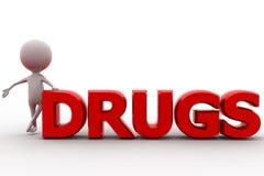 τρισδιάστατη έννοια φαρμάκων ατόμων Στοκ Εικόνες