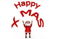 τρισδιάστατη έννοια Χριστουγέννων Άγιου Βασίλη ευτυχής Στοκ εικόνες με δικαίωμα ελεύθερης χρήσης