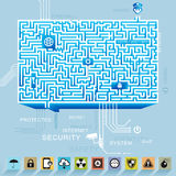 τρισδιάστατη έννοια Διαδίκτυο που δίνει την ασφάλεια Στοκ Εικόνες