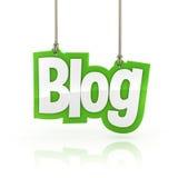 Τρισδιάστατη λέξη Blog που κρεμά το άσπρο υπόβαθρο Στοκ Εικόνες