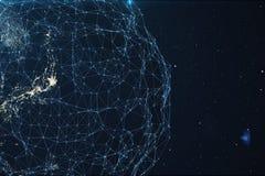 τρισδιάστατη δίνοντας ανταλλαγή δικτύων και στοιχείων πέρα από το πλανήτη Γη στο διάστημα Γραμμές σύνδεσης σε όλη τη γήινη υδρόγε ελεύθερη απεικόνιση δικαιώματος