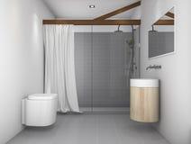 τρισδιάστατη δίνοντας ελάχιστη τουαλέτα σχεδίου με τον γκρίζο τόνο Στοκ φωτογραφίες με δικαίωμα ελεύθερης χρήσης