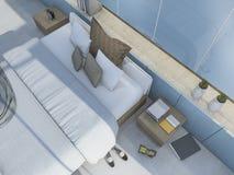 τρισδιάστατη δίνοντας τοπ άποψη συμπαθητική μπλε κρεβατοκάμαρα με κάποια διακόσμηση Στοκ εικόνα με δικαίωμα ελεύθερης χρήσης