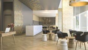 τρισδιάστατη δίνοντας υποδοχή και σαλόνι ξενοδοχείων πολυτελείας Στοκ Φωτογραφίες
