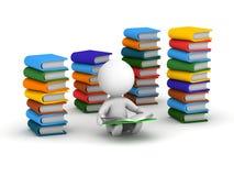 τρισδιάστατη ανάγνωση ατόμων που περιβάλλεται από τα βιβλία Στοκ Εικόνες