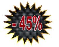 τρισδιάστατη απεικόνιση Έκπτωση σημάδι 45 τοις εκατό Στοκ Εικόνες