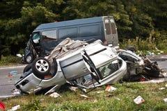 τρισδιάστατη απεικόνιση αυτοκινήτων ατυχήματος που απομονώνεται κατεστημένος άσπρος Στοκ Φωτογραφία