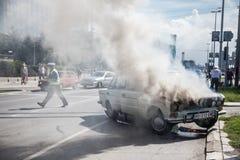 τρισδιάστατη απεικόνιση αυτοκινήτων ατυχήματος που απομονώνεται κατεστημένος άσπρος Στοκ Εικόνες