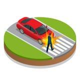 τρισδιάστατη απεικόνιση αυτοκινήτων ατυχήματος που απομονώνεται κατεστημένος άσπρος Αυτοκίνητο και πεζός ατυχήματος Επίπεδη τρισδ ελεύθερη απεικόνιση δικαιώματος