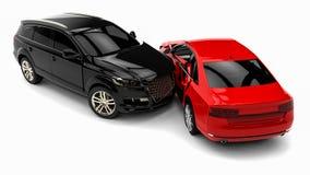 τρισδιάστατη απεικόνιση αυτοκινήτων ατυχήματος που απομονώνεται κατεστημένος άσπρος ελεύθερη απεικόνιση δικαιώματος