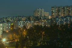 τρισδιάστατη απεικόνιση βραδιού πόλεων Στοκ φωτογραφία με δικαίωμα ελεύθερης χρήσης