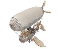 τρισδιάστατη απεικόνιση ενός αεροσκάφους φαντασίας στο ύφος steampunk στο απομονωμένο άσπρο υπόβαθρο Στοκ Φωτογραφία