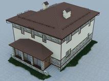 τρισδιάστατη απεικόνιση ενός εξοχικού σπιτιού Διανυσματική απεικόνιση