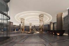 τρισδιάστατη απεικόνιση ενός λουξ λόμπι ξενοδοχείων στοκ φωτογραφίες
