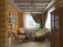 τρισδιάστατη απεικόνιση ενός σαλονιού και μιας αίθουσας του σπιτιού από ένα λ Στοκ Φωτογραφία