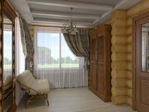 τρισδιάστατη απεικόνιση ενός σαλονιού και μιας αίθουσας του σπιτιού από ένα λ Ελεύθερη απεικόνιση δικαιώματος