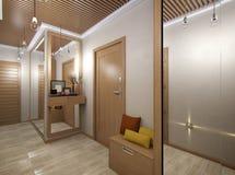 τρισδιάστατη απεικόνιση μιας αίθουσας από το υλικό δέντρων Απεικόνιση αποθεμάτων