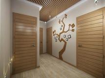 τρισδιάστατη απεικόνιση μιας αίθουσας από το υλικό δέντρων Ελεύθερη απεικόνιση δικαιώματος
