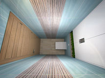 τρισδιάστατη απεικόνιση μιας τουαλέτας στους τυρκουάζ τόνους Απεικόνιση αποθεμάτων