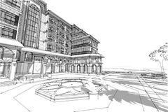 Τρισδιάστατη απεικόνιση ξενοδοχείων σχεδίων αρχιτεκτονικής Στοκ Εικόνες