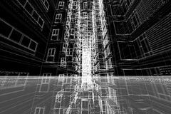 Τρισδιάστατη απεικόνιση δομών κτηρίου σχεδίων αρχιτεκτονικής Στοκ Εικόνες