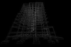 Τρισδιάστατη απεικόνιση δομών κτηρίου σχεδίων αρχιτεκτονικής Στοκ εικόνες με δικαίωμα ελεύθερης χρήσης