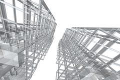 Τρισδιάστατη απεικόνιση δομών κτηρίου σχεδίων αρχιτεκτονικής Στοκ φωτογραφίες με δικαίωμα ελεύθερης χρήσης
