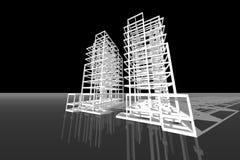 Τρισδιάστατη απεικόνιση δομών κτηρίου σχεδίων αρχιτεκτονικής Στοκ φωτογραφία με δικαίωμα ελεύθερης χρήσης