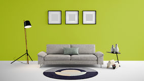 Τρισδιάστατη απεικόνιση περιοχής διαβίωσης υψηλής ανάλυσης με τον πράσινους τοίχο χρώματος παπαγάλων και τα έπιπλα σχεδιαστών Στοκ Φωτογραφίες