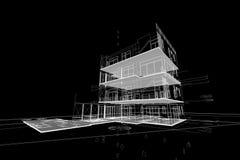 Τρισδιάστατη απεικόνιση συγκυριαρχιών σχεδίων αρχιτεκτονικής Στοκ Εικόνα