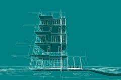 Τρισδιάστατη απεικόνιση συγκυριαρχιών σχεδίων αρχιτεκτονικής Στοκ Εικόνες
