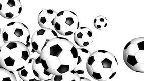 τρισδιάστατη απεικόνιση σφαιρών που δίνεται το ποδόσφαιρο Στοκ Εικόνες
