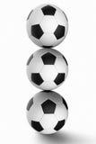 τρισδιάστατη απεικόνιση σφαιρών που δίνεται το ποδόσφαιρο Στοκ Εικόνα