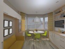 τρισδιάστατη απεικόνιση της άσπρης κουζίνας Διανυσματική απεικόνιση