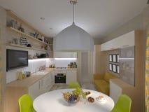 τρισδιάστατη απεικόνιση της άσπρης κουζίνας Ελεύθερη απεικόνιση δικαιώματος