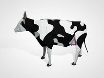 τρισδιάστατη απεικόνιση της αγελάδας origami Polygonal γεωμετρική αγελάδα ύφους που στέκεται την ολόκληρη γραπτή αγελάδα του Χολσ Στοκ Εικόνες