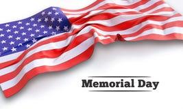τρισδιάστατη απεικόνιση της κυματίζοντας αμερικανικής σημαίας Στοκ Εικόνα