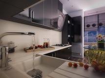 τρισδιάστατη απεικόνιση της σύγχρονης μαύρης κουζίνας Απεικόνιση αποθεμάτων